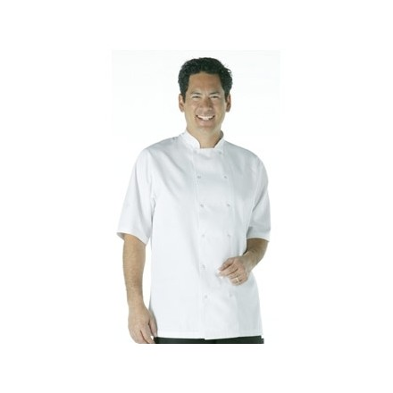Vegas Chefs Jacket - Short Sleeve White Polycotton. Size: XS (To fit chest 32 -